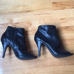 Shoes - Netted Black Bootie Stilettos in Faux Leather